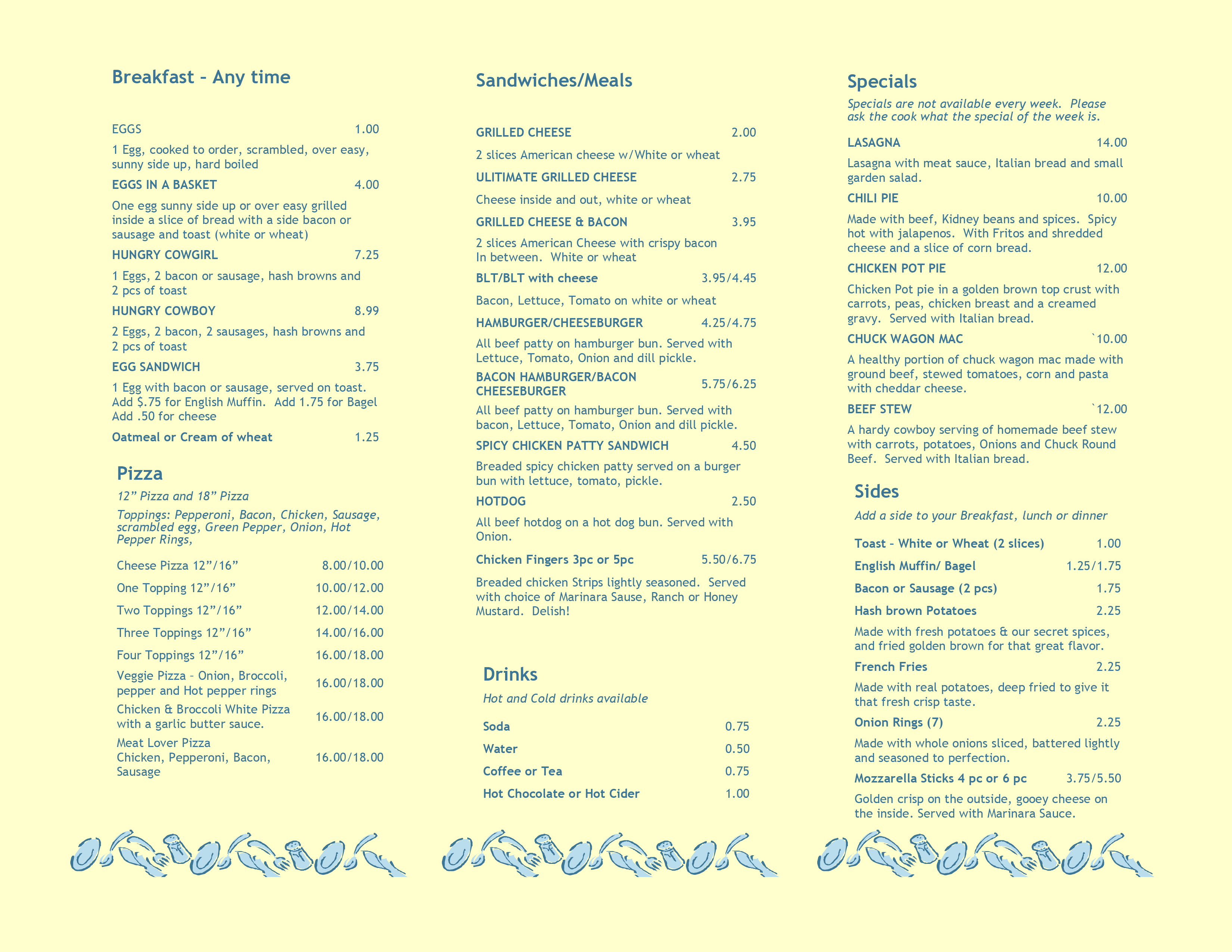 Stage Coach Cafe' Menu